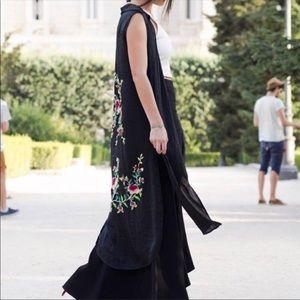 Zara embroidered black shirt dress